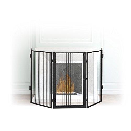 Relaxdays Kaminschutzgitter Metall, Absperrgitter 5 Elemente, Feuerschutzgitter für Babys und...