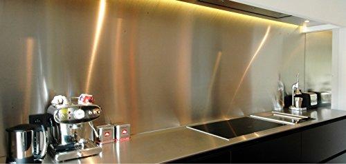 AluCouleur Boden für Dunstabzugshaube/Kredenz Edelstahl brossé-11Größen-Höhe 35cm x, Rostfreies Metall, Grau, Échantillon Inox Brossé 1 mm