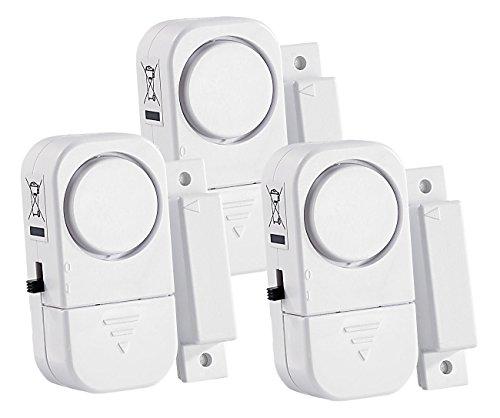 VisorTech Tür Alarmanlage: 3er-Set Mini-Tür- und Fensteralarme, 95 db, 2 Jahre Batterielaufzeit (Mini Alarm)