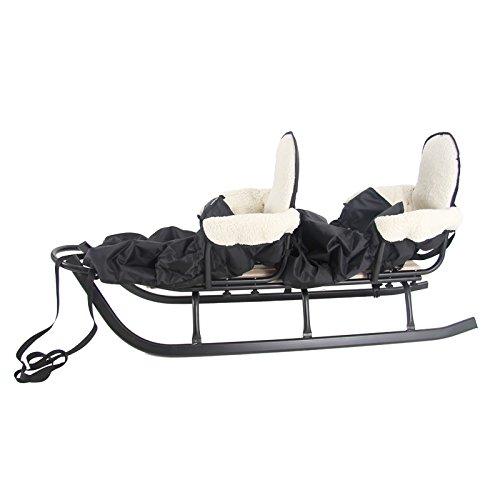 Schlitten DUO mit Rückenlehne, farb., 142cm schwarz