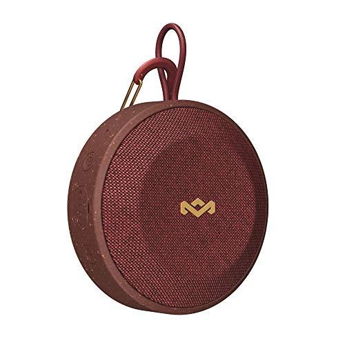 House of Marley No Bounds Outdoor Bluetooth Lautsprecher - wasserdicht, staubdicht & sturzsicher IP67, schwimmfähig, 10 Std Akku, Karabiner, Schnellladung, Aux, Dual Pairing, Mikrofon - Red