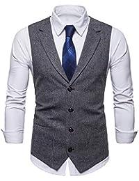 STTLZMC Leisure Gilet Costume Homme Tweed Rétro sans Manches Veste Business  Mariage ... 1ec3b08bf10