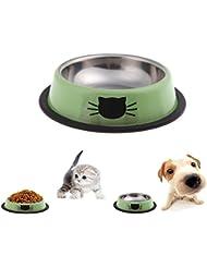 Itian Tazón de Acero Inoxidable de Alimentos con Bordes de Goma Antideslizante, para los Pequeños Animales Domésticos, Perro / Gato y Otros (Verde)