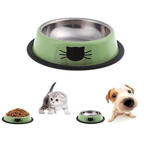 Itian Edelstahl Futternapf mit Feste Gummikanten, für Kleine Haustiere, Hund / Katze und Andere (Grün)