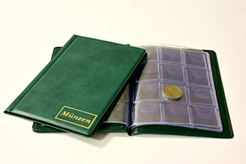 MC.Sammler Münzenalbum Münzalbum Taschenalbum für 96 Stück 2 Euro Münzen (Grün)