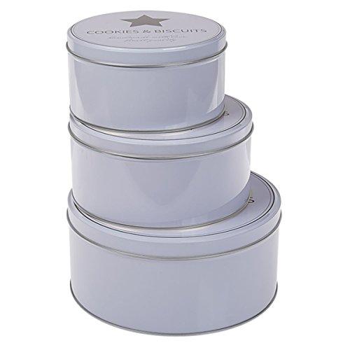 OOTB Runde, weiße Metall-Keksdose, Cookies & Biscuits, 3er Set, 19.5 x 19.5 x 9 cm