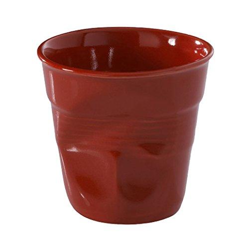REVOL RV636513 Tasse cappuccino froissé 8,5cm rouge, porcelaine, rouge, 8.5 x 8.5 x 8.5 cm