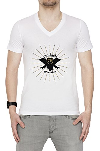 Punkish Generation Uomo V-Collo T-shirt Bianco Cotone Maniche Corte White Men's V-neck T-shirt