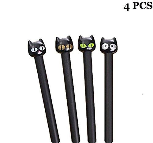 Cdet 4PCS Gros chat Noir stylo crayons stylo à bille Stylos Stylo gel bricolage cadeaux étudiants Cadeau enfant pour lécriture de dessin 0.38mm