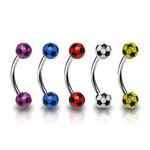 1 x weißer Fußball (Fußball) Ball Design gebogene Augenbraue Bar, 1.2mm Dicke Länge 8mm 4mm (Fußball Pads Kostüm)