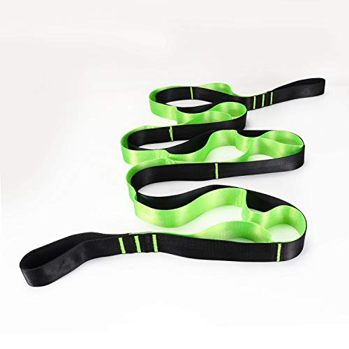 Yoga Gurt mit 12 Griff Schlaufen   Stretch Strap 270 x 3.8 cm Gymnastik Gurt   Multifunktionaler Fitness bänder für Beweglichkeit   Fitness Pilates Ballett Physiotherapie Stretch Gurt mit E-Books