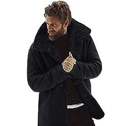 Writtian Wintermantel Herren große größen Revers Trenchcoat Mantel verdickt Wärmejacke Einfarbig Patchwork Plüsch warm gefüttert Mode Freizeit Lose Parkas Baumwoll Mantel