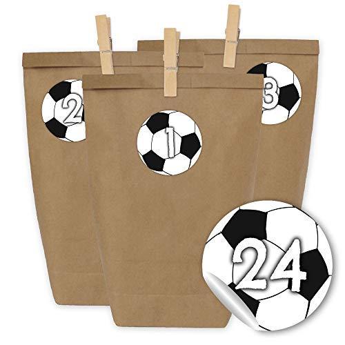 Papierdrachen 24 Sacchetti di Carta per Il Calendario dell'Avvento con Adesivi e 24 mollette di Legno - Motivo palloni da Calcio - 47