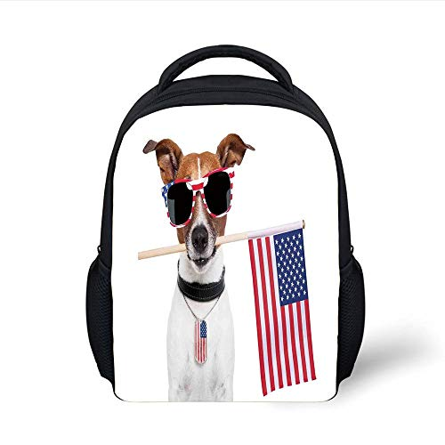 Kids School Backpack Dog Lover Decor,American Dog with USA Flag and Shades Sunglasses Anniversary Independence Liberty Decorative, Plain Bookbag Travel Daypack