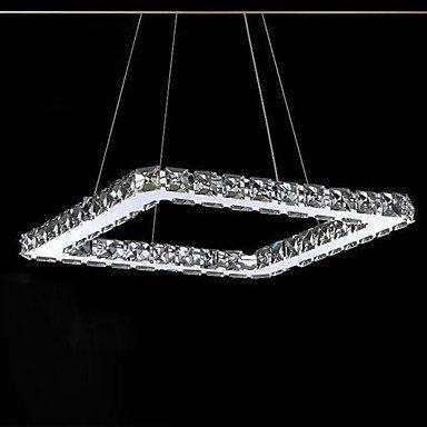 Makenier - Lámpara de techo de cristal LED moderna, bañada en acero