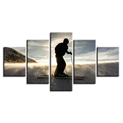 FCFLXJ 5 Gemälde auf Leinwand, Leinwand, Wandkunst, HD-Kunstdruck, Dekoration, Wohnzimmer, 5 Stück, Skateboard, Sonnenuntergang, Landschaft, Leinwand, Fotopapier Modular, 200 x 100 cm, 78, 8 x 39,4