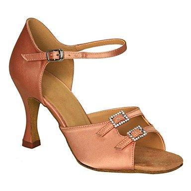 Scarpe da ballo - Non personalizzabile - Da donna - Balli latino-americani / Salsa / Samba / Scarpe da swing - A stiletto - Raso -Nero / Tan