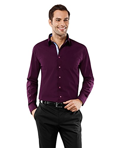 Vincenzo Boretti Herren-Hemd bügelfrei 100% Baumwolle Regular-fit Uni-Farben New-Kent Kragen - Männer lang-arm Hemden für Anzug mit Krawatte Business Hochzeit Freizeit aubergine 43/44