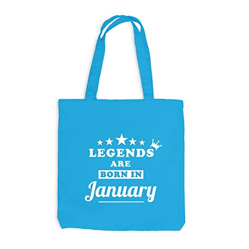 Jutebeutel - Legends are born in January - Birthday Gift Surfblau