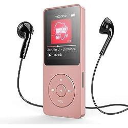 AGPTEK Lecteur MP3 Bluetooth 4.0 8Go Lecteur Musique Sport Portable avec Podomètre, Radio FM, Enregistrement Vocal, 1.8 TFT Écran, Supporte Carte SD jusqu'à 128Go-A02T Or Rose