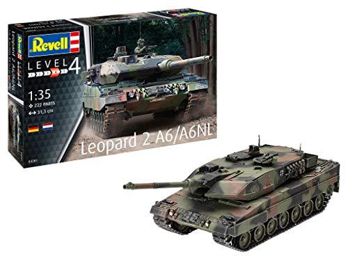 Revell 03281 Panzermodell Leopard 2 A6/A6NL, Maßstab 1:35, 31,3cm originalgetreuer Modellbausatz für Fortgeschrittene, unlackiert, 1/35