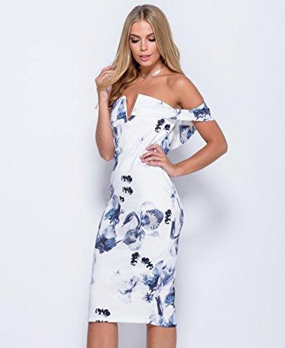 Damen Blumen Bardot Bedruckte Bodycon Kleid Größe 36-42 Weiß