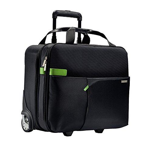 Leitz Business Softcase Handgepäck-Trolley (Smart Traveller, 19 Fächer, 44 x 37,5 x 23 cm, Polyester/Metall/Leder, Complete), Schwarz, 60590095