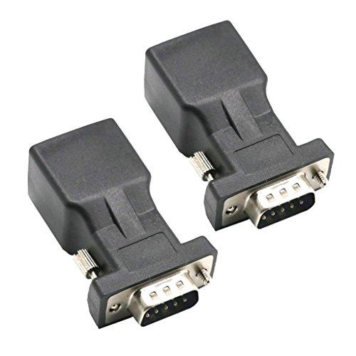 Serieller Extender (Baoblaze 2 Stücke DB9 RS232 COM Stecker auf RJ45 Buchse Stecker DB9 Serial Port Extender auf LAN CAT5 CAT6 RJ45 Netzwerk Ethernet Kabel Adapter)