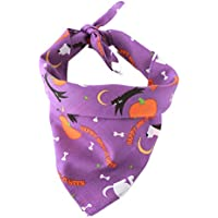 POPETPOP Bandana del Perro del Animal doméstico Bandana Triangular Bufanda del Perrito del Babero Halloween Toalla Impresa de la Saliva (púrpura)