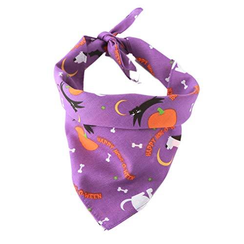 POPETPOP Cute Dog Bib Cool und bequem Hund dreieckigen Bandage Schal Hundehalsband Halloween gedruckt Speichel Handtuch (lila)