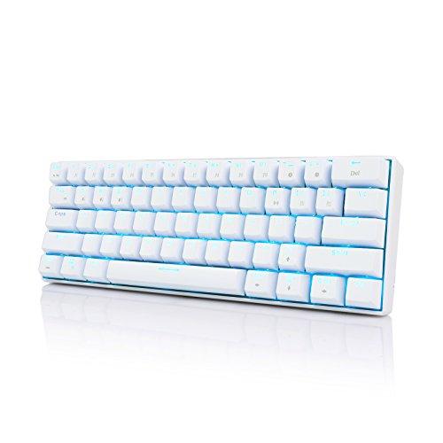 Royal Kludge RK61 Bluetooth 3.0 Multi-Device LED Backlit Mechanical Gaming/Office QWERTY Tastatur für iOS, Android, Windows und Mac, Blauer Schalter, Weiß