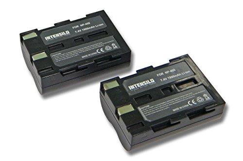 INTENSILO 2x Li-Ion Batterie 1900mAh (7.4V) pour appareil photo, caméscope, caméra vidéo Konica Minolta Dynax 5D, 7D comme NP-400, D-Li50, BP-21.