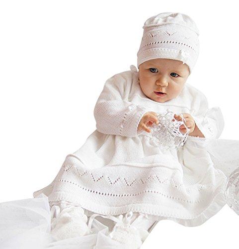 Babykleid Taufkleid Strickkleid Festkleid Mädchen Baby Taufe Kleid gestrickt, Emma 80