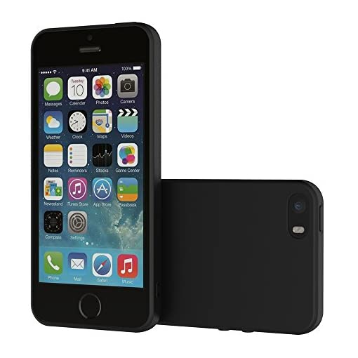 AICEK Cover per iPhone Cover iPhone SE / 5S / 5 Nero Silicone Case