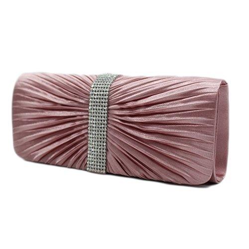 Packingworld Damen Mädchen Abend Tasche Kleine Tasche Handtasche Americae Designe Tasche Faltenwurftasche Party Mehre Farbe Mehre Abmessung Festessen Zusammenkunft pink