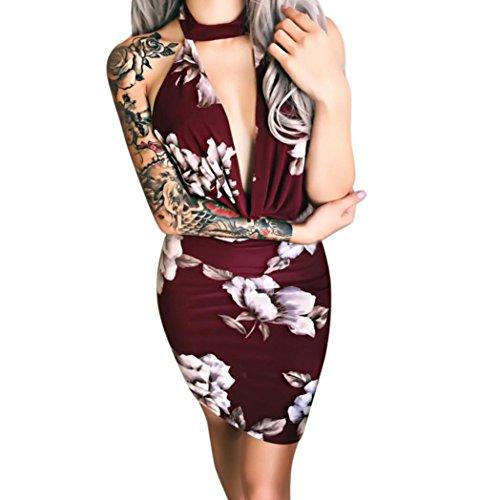 Ba Zha Hei Elegant Frauen-Sleeveless Floral Printed V-Ausschnitt ausgestattet Bodycon Abendkleid druckt sexy Neckholder-Rücken offene Hüfte Cocktailkleid Festlich Partykleid Kleid (L, Weinrot) (Rücken-neckholder)