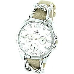 Damen-Armbanduhr Leder beige Diamanten CZ Michael John 1481