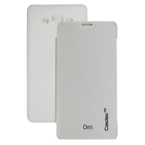 Casotec Premium Flip Case Cover for Samsung Galaxy On5 - White  available at amazon for Rs.125