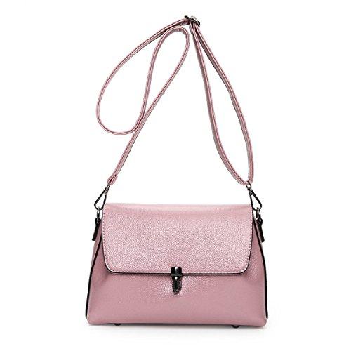 WU Zhi Dame PU Litchi Muster-Kurier-Beutel-Schulter-Beutel Pink