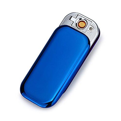 USB Elektronisches Ber&uumlhren Feuerzeuge Windfest Elektronisch Zigarre Zigarette Feuerzeug Aufladbare (Blau)