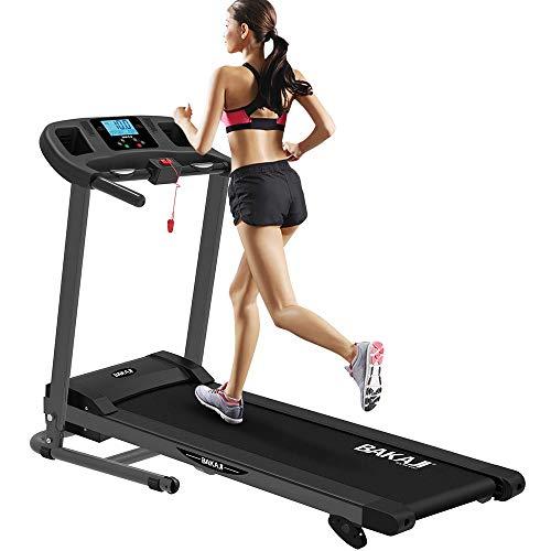 BAKAJI Tapis Roulant Elettrico Pieghevole Allenamento Cardio Fitness Palestra velocità Massima 10 km/h Inclinazione Manuale con MP3 Player e Casse Integrate