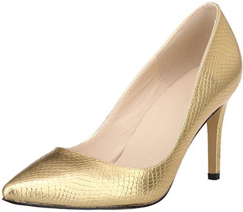 CFP ,  Damen Durchgängies Plateau Sandalen mit Keilabsatz Gold
