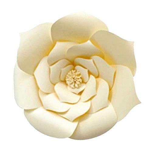 SM SunniMix Große Papierblumen Kunstblumen DIY Blumen Papier für Wohnkultur und Basteln Handwerk (1x Kerze + 1x Schmelzklebstoff) - Weiß