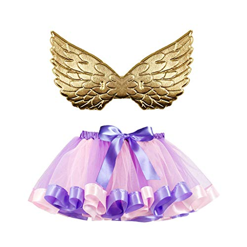 Romantic Halloween Kostüme Kinder Baby Spitze Tutu Rock Mädchen Mehrfarben Tutu Mädchen Festlich Partykleidung Kinder + Goldene Flügel Kinder 2er Set Halloween Karneval Party Cosplay für Kinder (Marie Rose Kostüm)