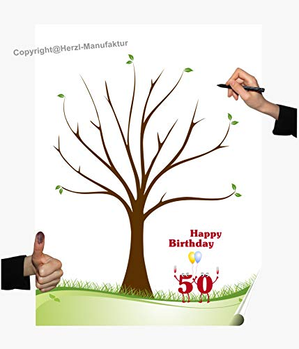 Herzl-Manufaktur Fingerabdruck Poster 50. Geburtstag Gästebuch Partyspiel Fingerabdruck Baum Hochzeit runder Geburtstag (50 V)
