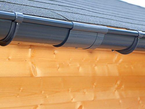 Dachrinnen/ Regenrinnen Set   Satteldach (2 Dachseiten)   Extra100   in anthrazit, weiß, braun oder schwarz! (Verlängerungsset 175 cm, Anthrazit)