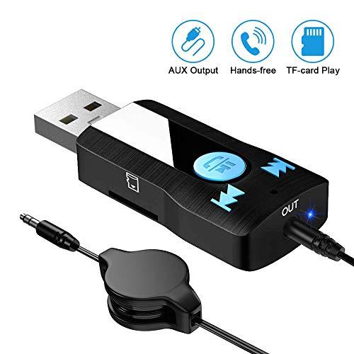 SONRU AUX Bluetooth Empfänger Adapter, Auto USB Bluetooth Adapter, Unterstützung Freisprecheinrichtung, TF-Kartenspiele, Dual Link, 3,5mm AUX Ausgang, Kein Aufladen erforderlich (Plug&Play)
