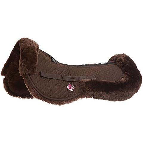 LeMieux Lambskin Half Pad - Dark Brown Wool/Brown Fabric, Large
