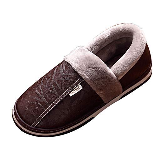 Wahyou Pantofole Unisex in Pelle di Pecora Coppia Scarpe di Cotone Casa Ciabatta in Cotone con Fondo Spesso Invernale più Velluto Caldo Interno Impermeabile Antiscivolo in Pelle PU