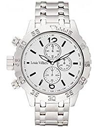 Reloj hombre Louis Villiers reloj 48 mm de acero blanco y pulsera plateado acero LV1022